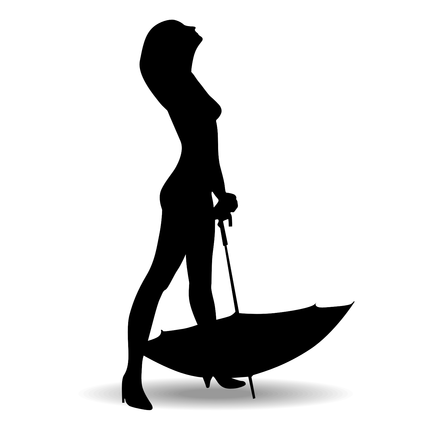 1500x1500 Lady Standing Umbrella Silhouette Clipart Collection