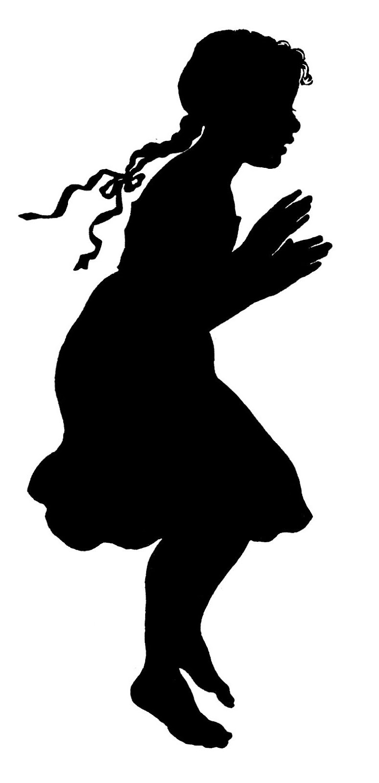 775x1600 Young Girl Silhouette Clipart