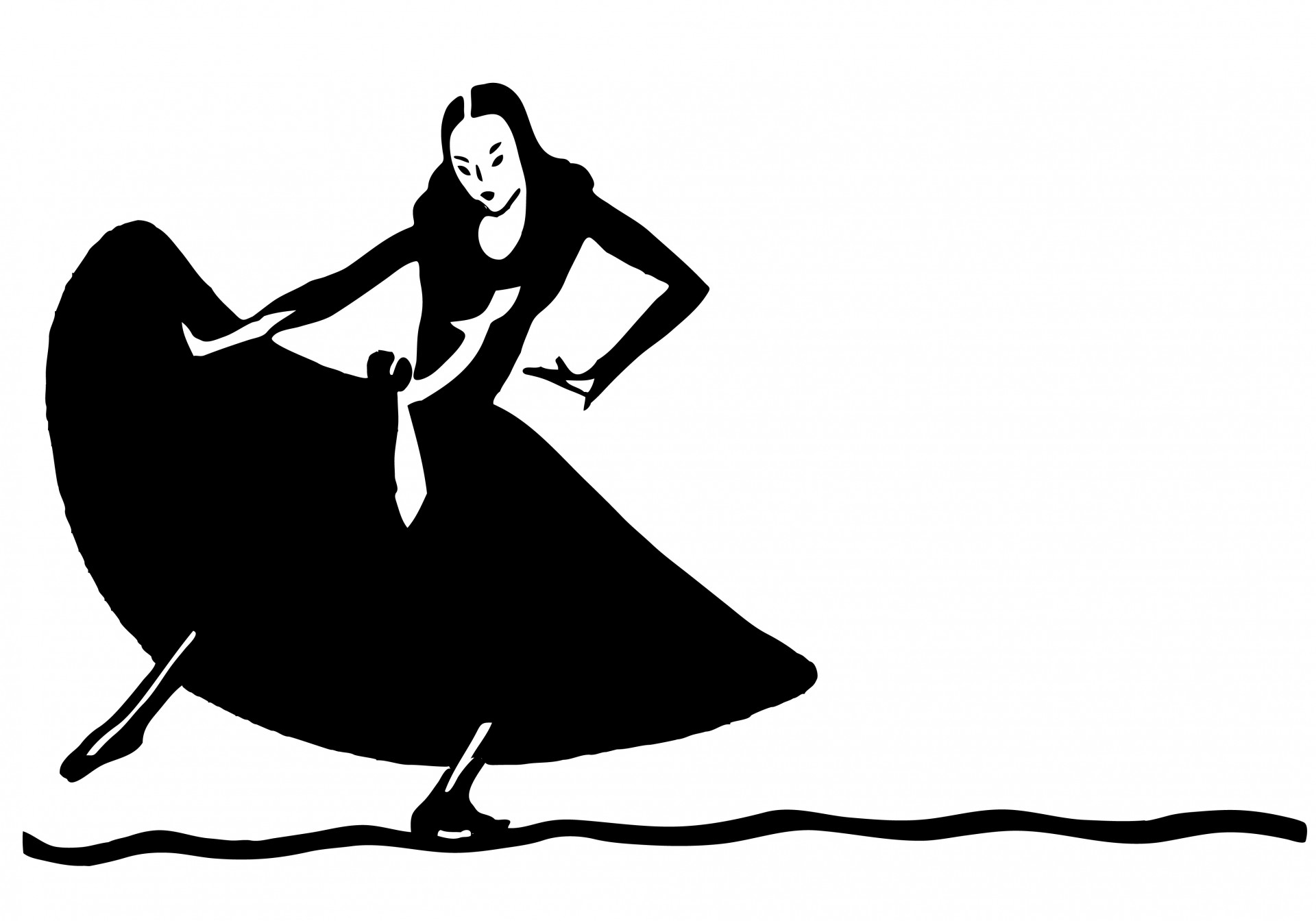 1920x1344 Dancing Woman Silhouette Clipart Free Stock Photo