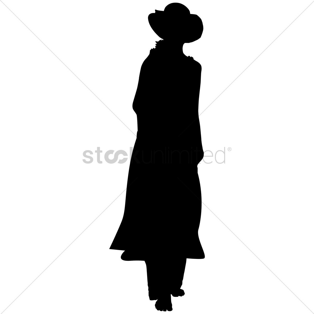 1300x1300 Silhouette Of A Lady With Hat Vector Image