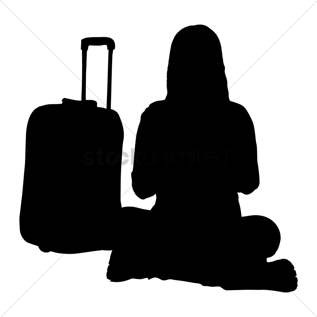 1300x1300 Free Silhouette Of A Woman With Suitcase Vector Image