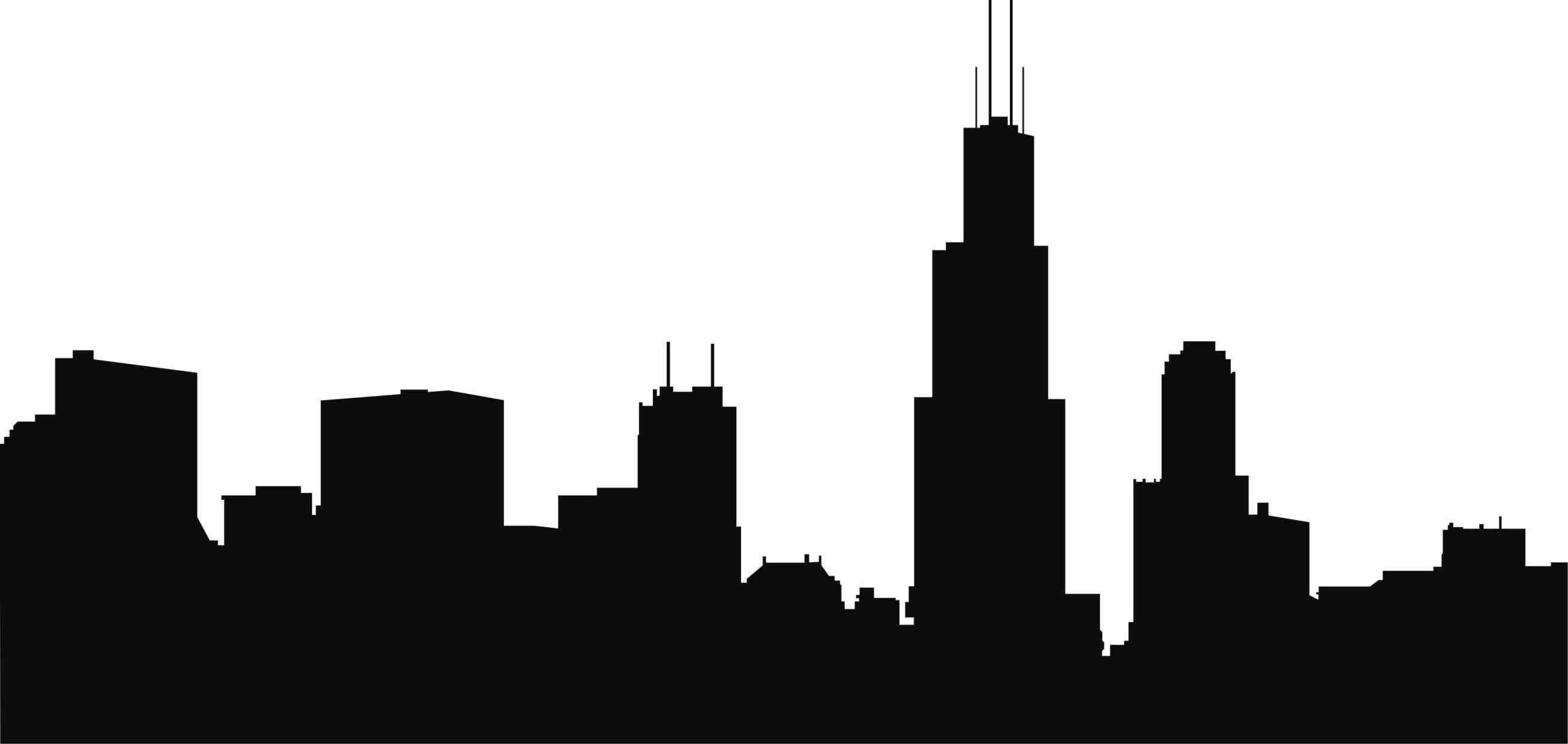 2613x1240 Chicago Skyline Drawing Lady Near The Lake Showy Silhouette