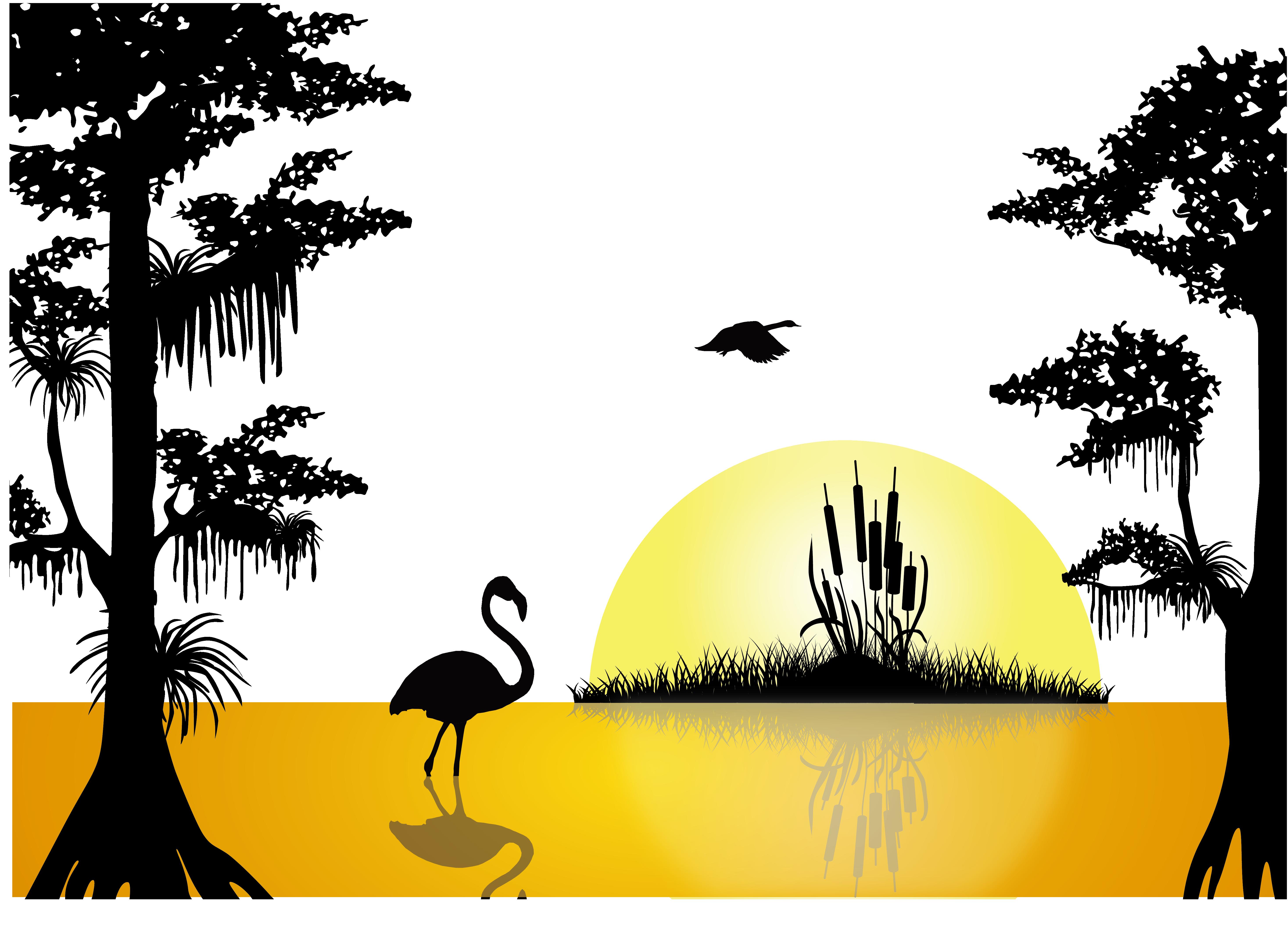 5871x4247 Sunset Lake Silhouette