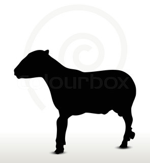 295x320 Sheep Silhouette With Standing Pose, Vector Illustration Stock