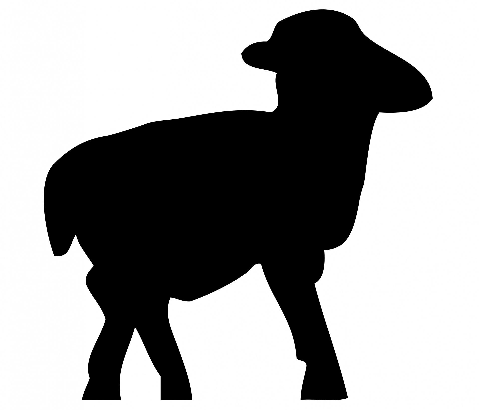 1920x1645 Lamb, Sheep Black Silhouette Free Stock Photo