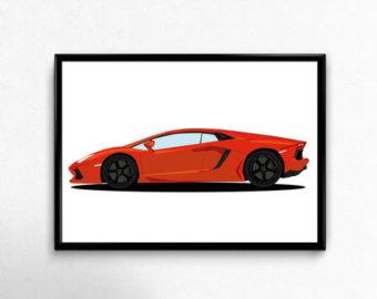 340x270 Lamborghini Aventador Sports Car 4 Panel Canvas