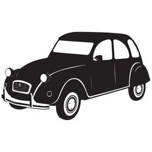 300x300 Wallsticker 2cv Otomoto Silhouettes, Cars