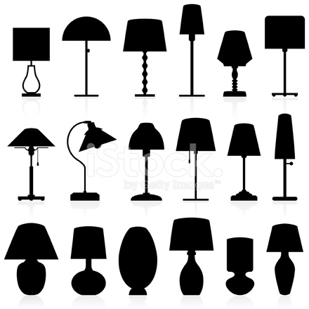 440x440 Lamp Silhouettes Pack Stock Vector