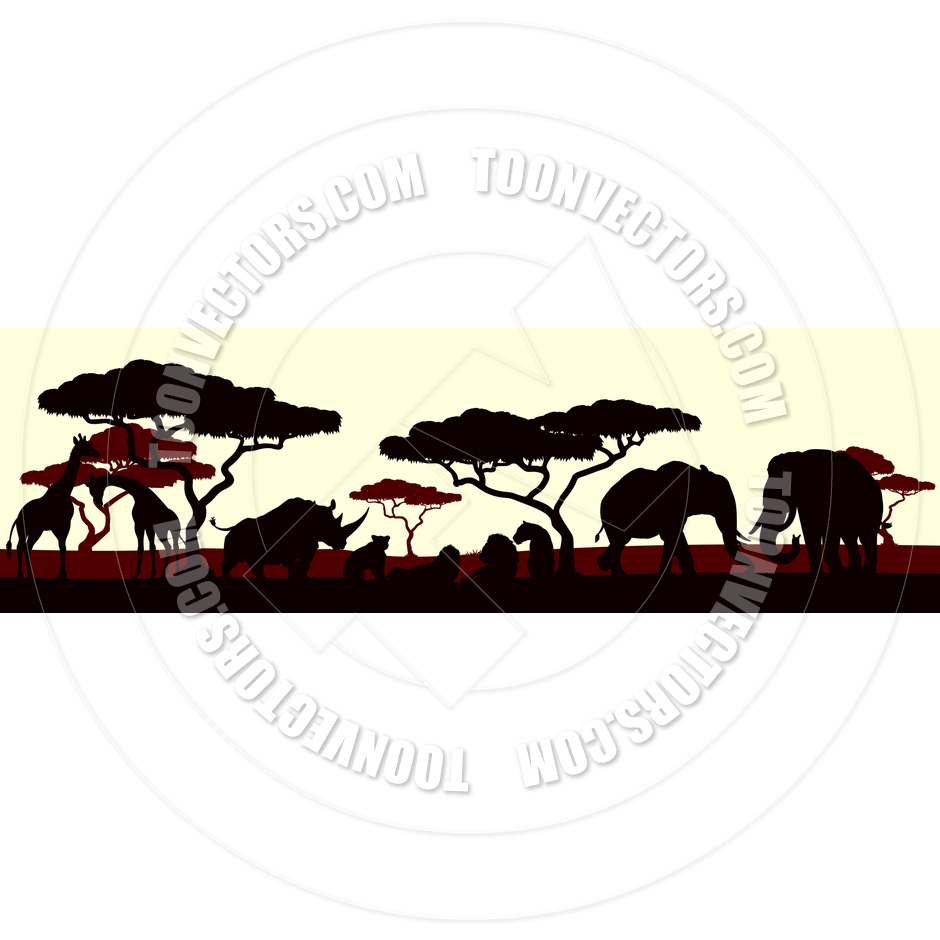 940x940 Animal Silhouette African Safari Landscape Scene By Geoimages