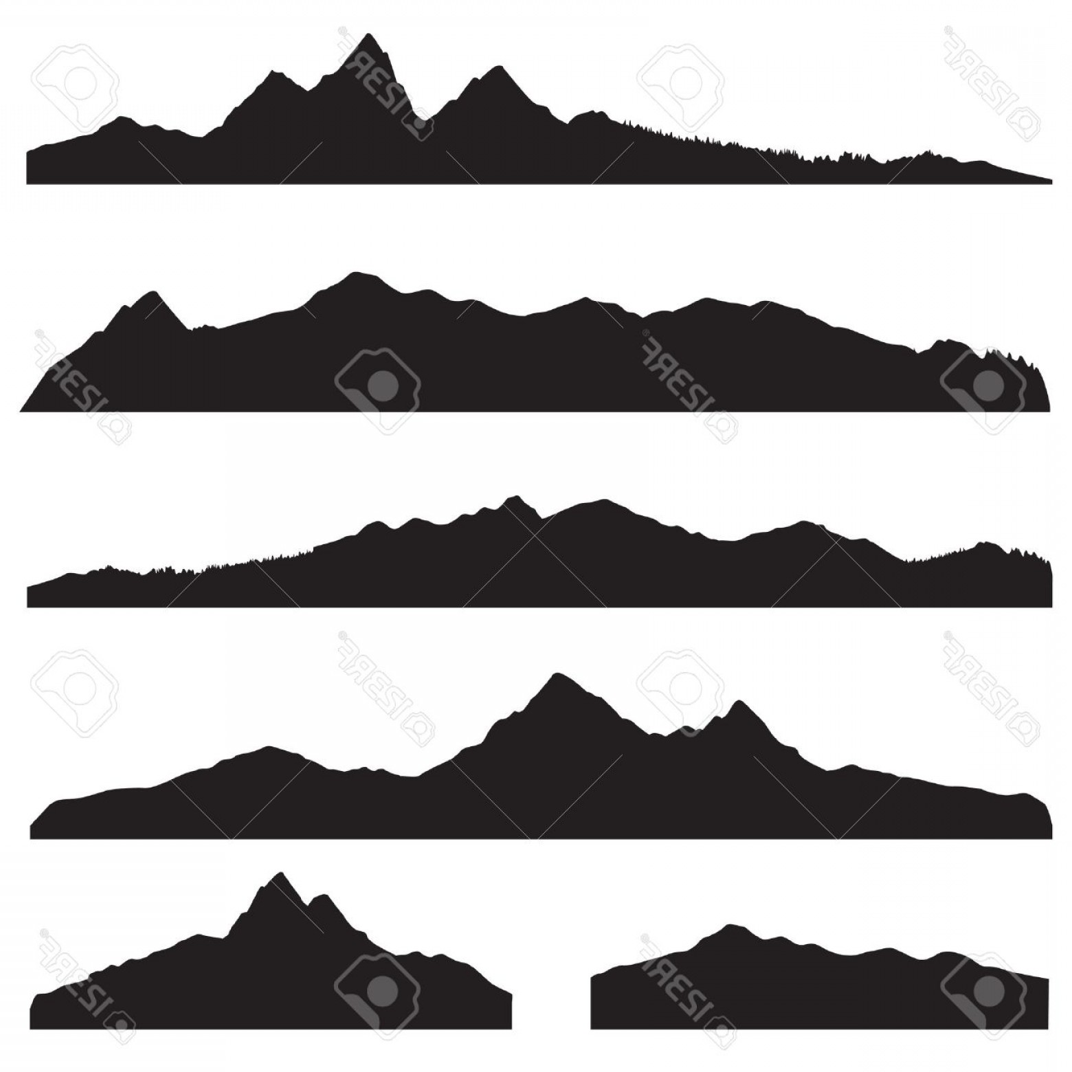 1560x1560 Photostock Vector Mountains Landscape Silhouette Set Abstract High