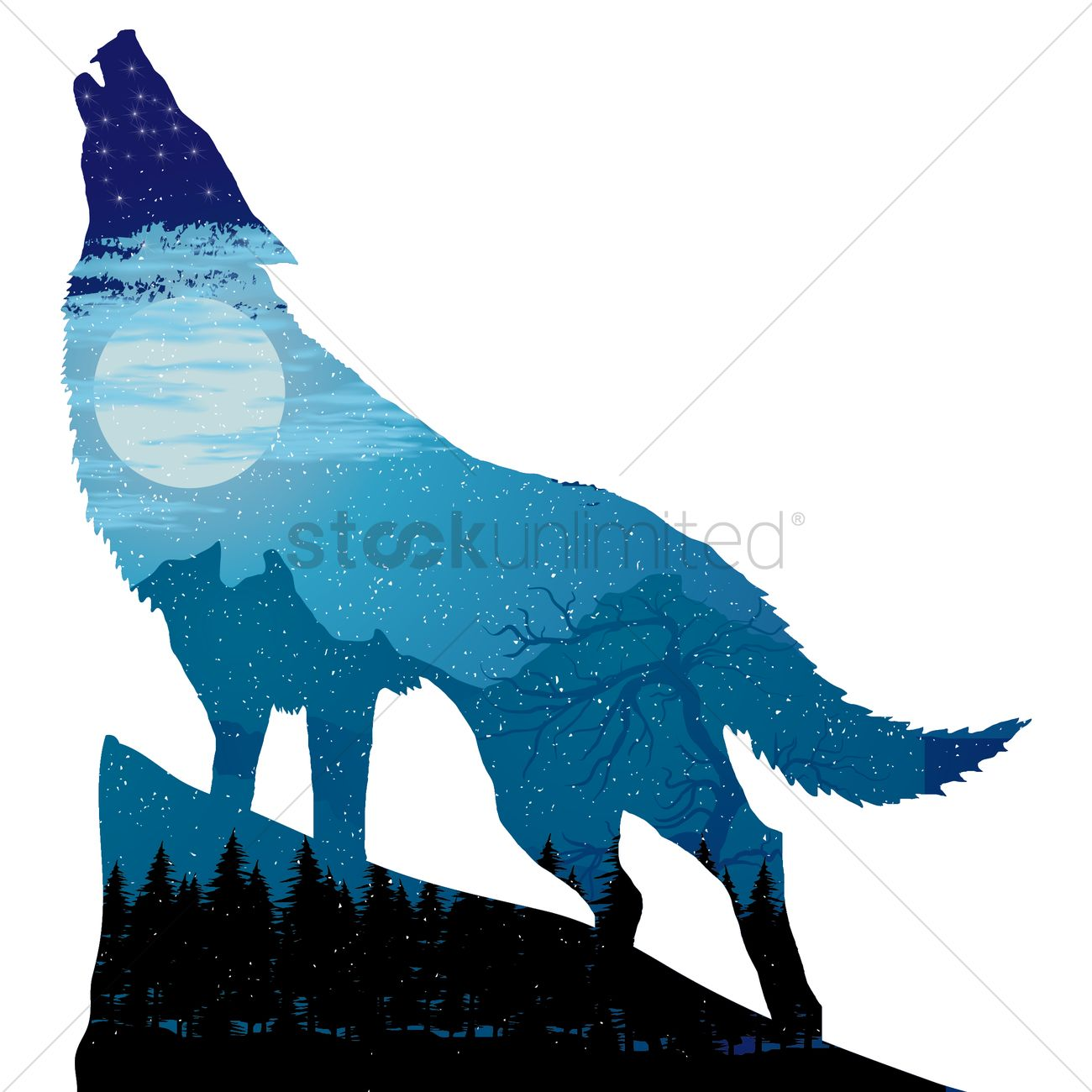 1300x1300 Double Exposure Of Wolf And Landscape Vector Image