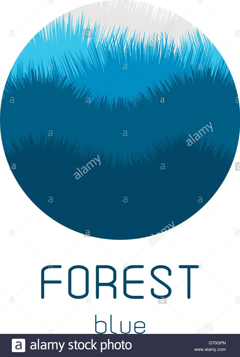 933x1390 Isolated Round Vector Logo. Blue Forest View Image. Natural
