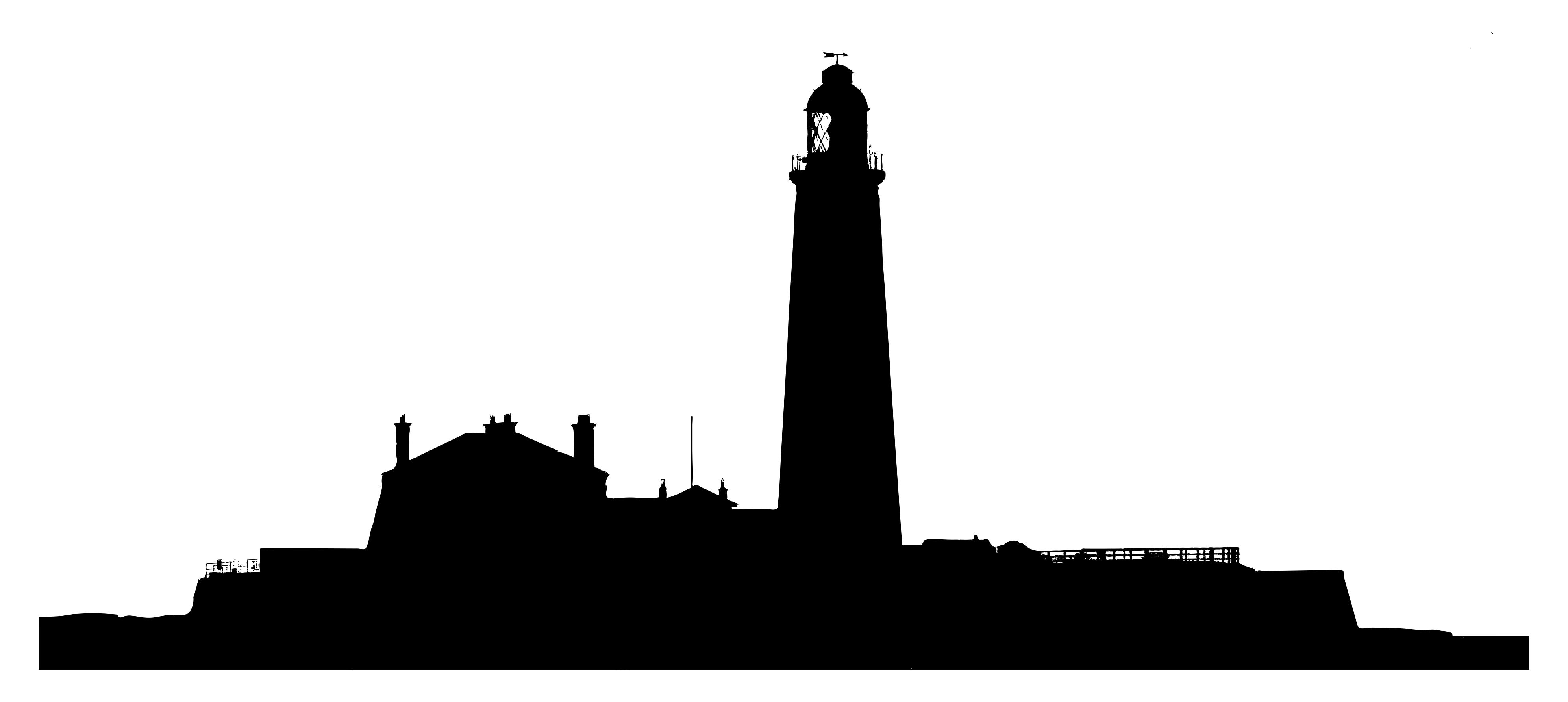 3983x1783 Lighthouse Landscape Silhouette Clipart