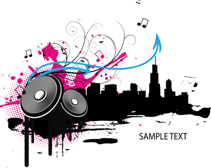 718x570 Music Element With Landscape Silhouette