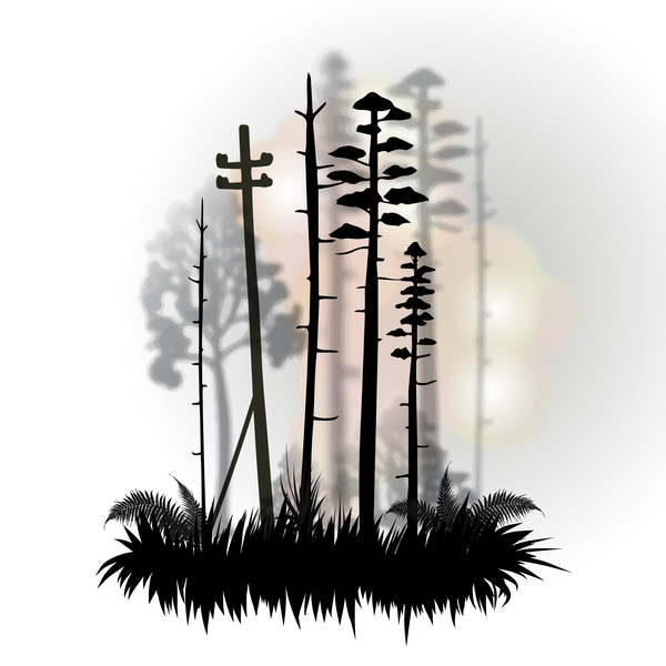 600x600 Tree Silhouette With City Landscape Fashion Vector 01
