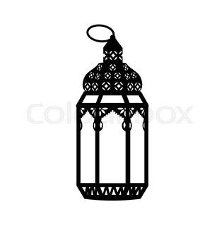 317x320 Set Of Old Lamps. Lantern Vector Dark Silhouettes. Ramadan Kareem
