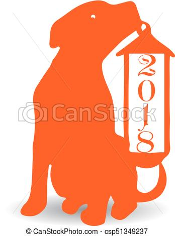 348x470 Dog With Christmas Lantern, Orange Silhouette On White Vectors