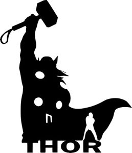 258x300 Thor Silhouette Decal Marvel Comics Wall Car Truck Window Laptop