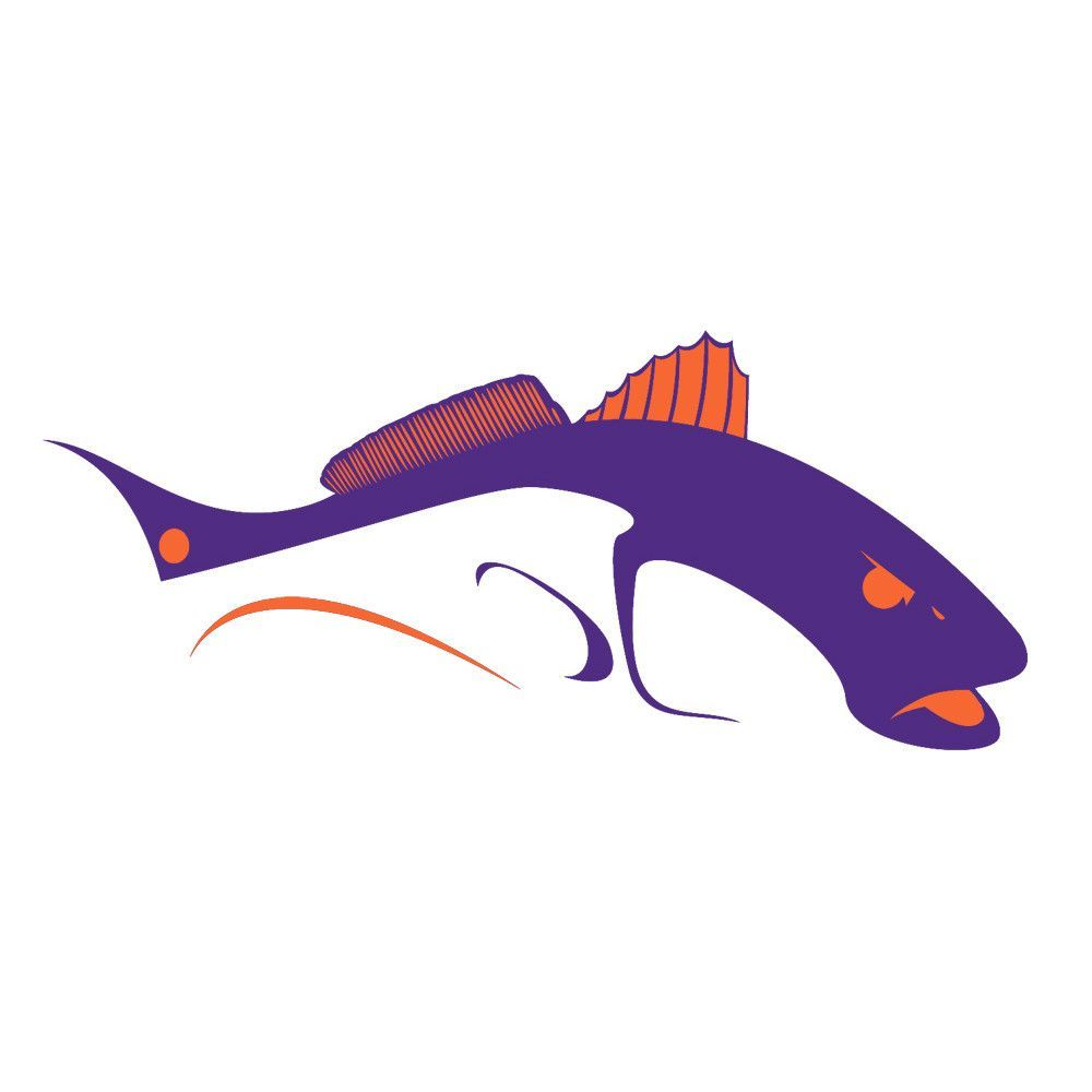 1000x1000 Bull Redfish Clemson Tigers Car Decals Silhouette