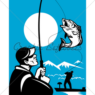 325x325 Fishing Silhouettes Gl Stock Images