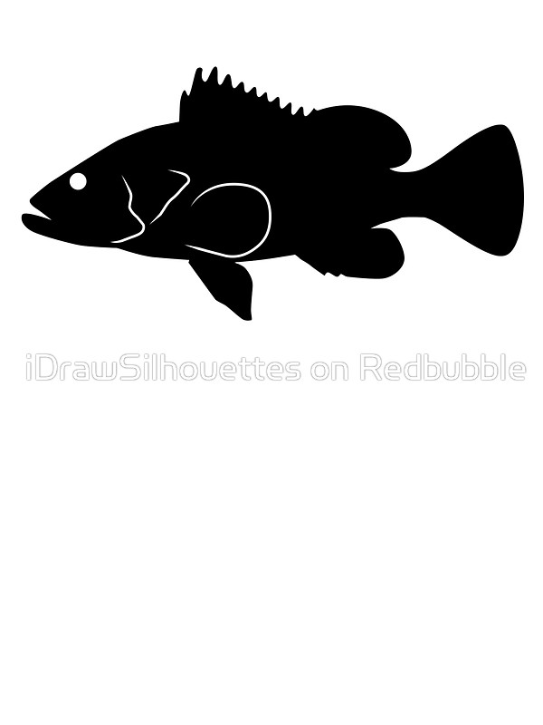 600x800 Nassau Grouper Fish Silhouette (Black) Stickers By