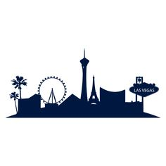 236x236 Las Vegas Skyline Wall Sticker Vegas Tattoo, Skyline Silhouette