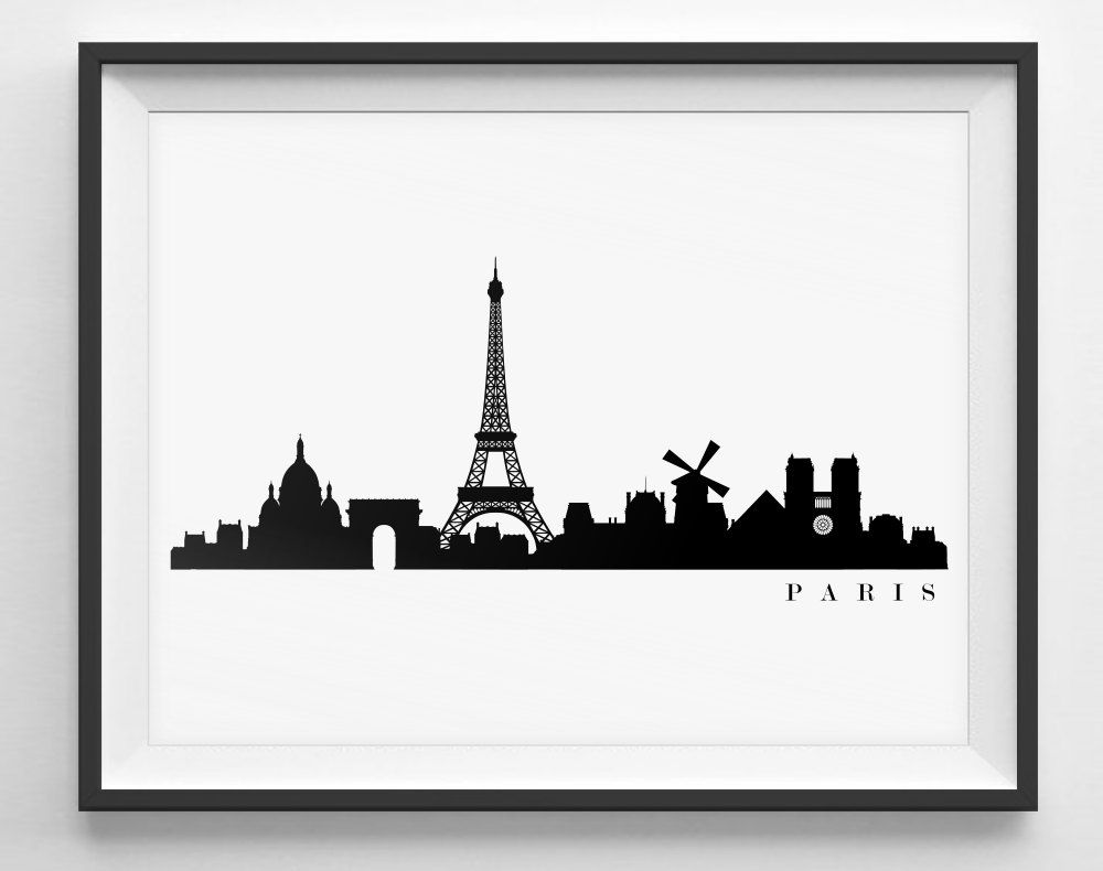 1000x790 Paris Skyline Silhouette