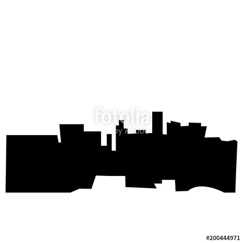 500x500 Las Vegas Silhouette On White Background, In Black Stock Image