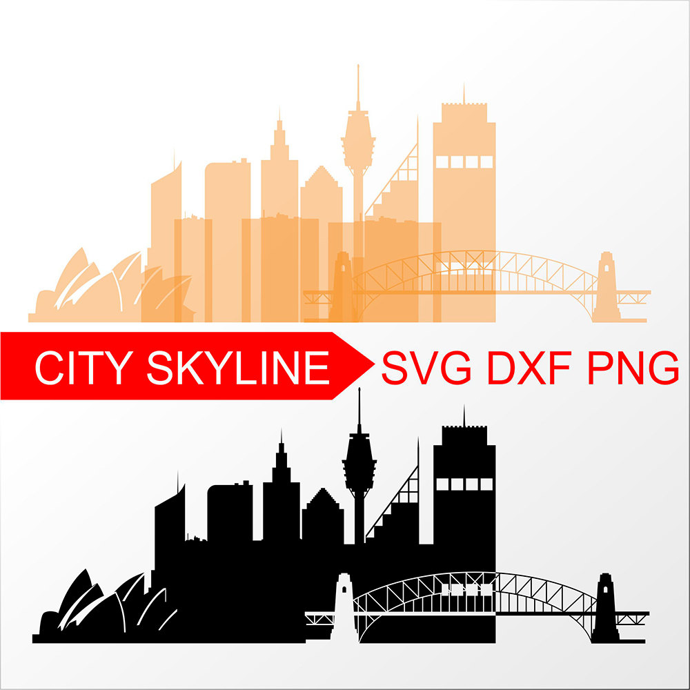 1000x1000 Sydney Svg, Australia Vector Skyline, Sydney Graphic Silhouette