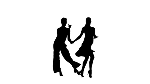 480x270 Couple Silhouette Professional Dancing Latino On White Background