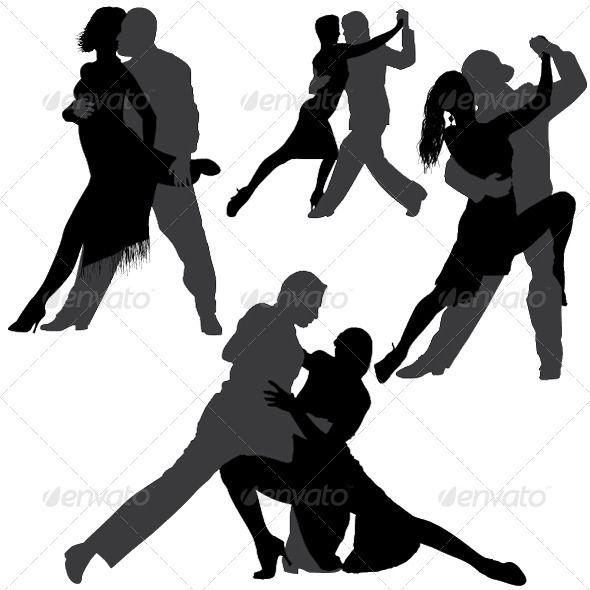 590x590 Tango And Salsa Vector Silhouettes Tango, Salsa And Silhouette