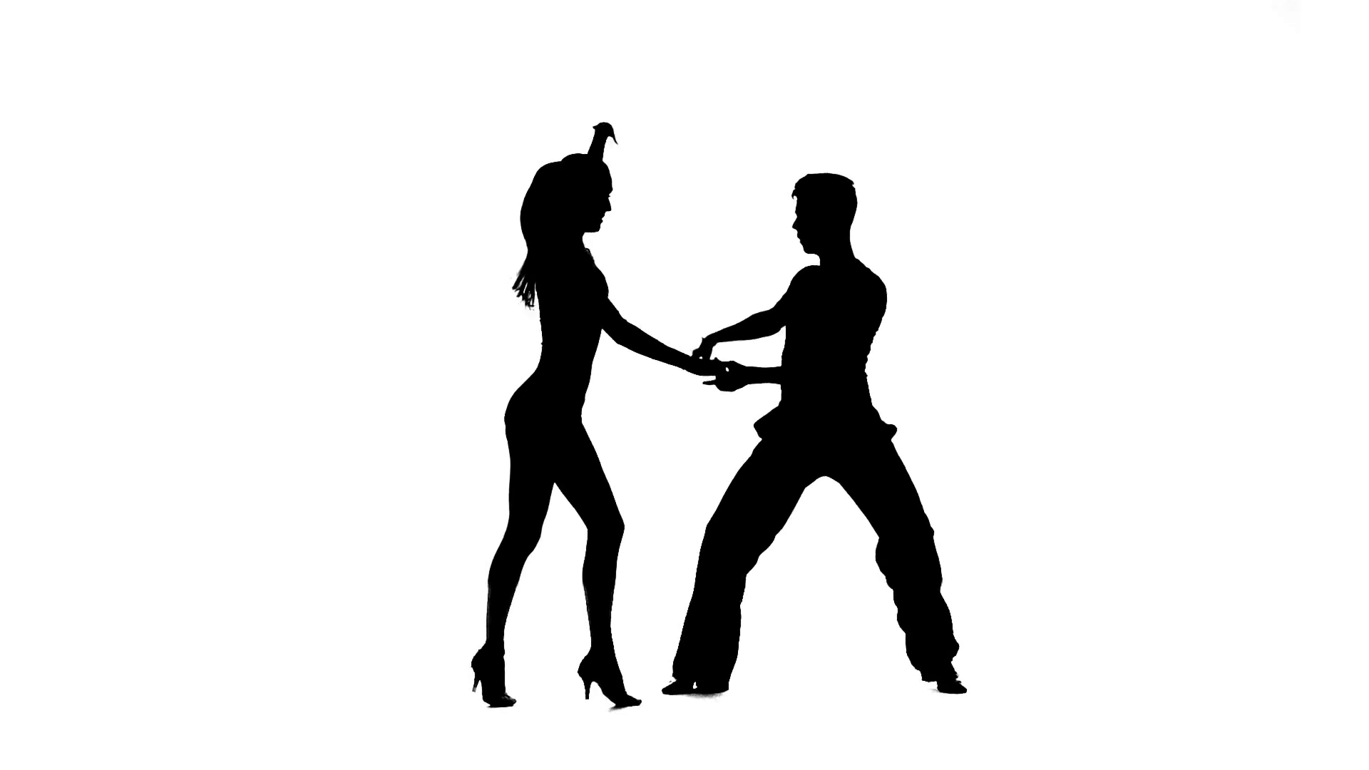 1920x1080 Rumba Perform Silhouette Couple Professional Dancers. White