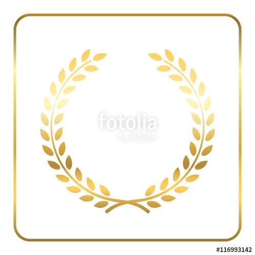 500x500 Gold Laurel Wreath. Symbol Of Victory And Achievement. Design