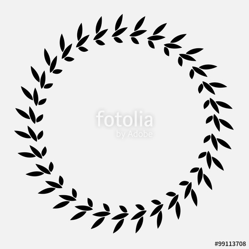 500x500 Tattoo Of Laurel Wreath. Black Abstract Ornament, Silhouette