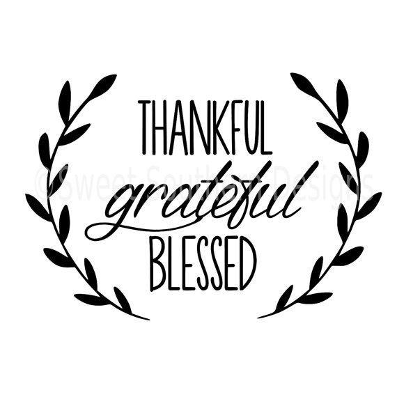 570x570 Thankful Grateful Blessed Laurel Wreath Svg Instant Download
