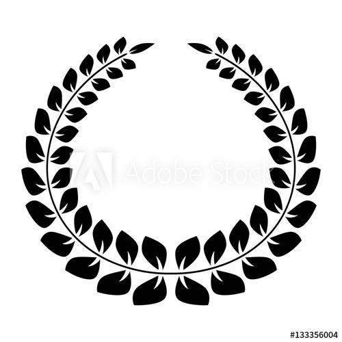 500x500 Big Silhouette Laurel Wreath On White Background Vector
