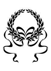 169x235 Black Laurel Wreath Premium Clipart