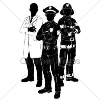 325x325 Policeman Or Police Officer Silhouette Gl Stock Images