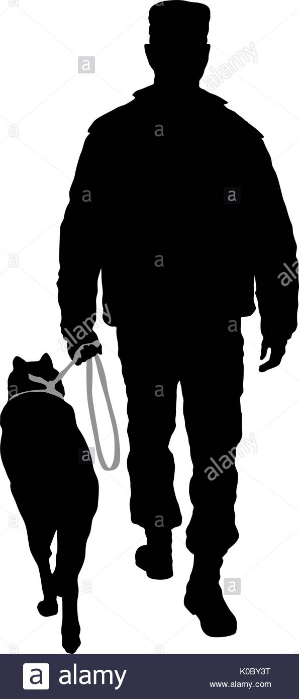 595x1390 Silhouette Of Man And Dog On A White Background Stock Vector Art