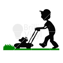250x250 Kid Mowing Lawn Svg File
