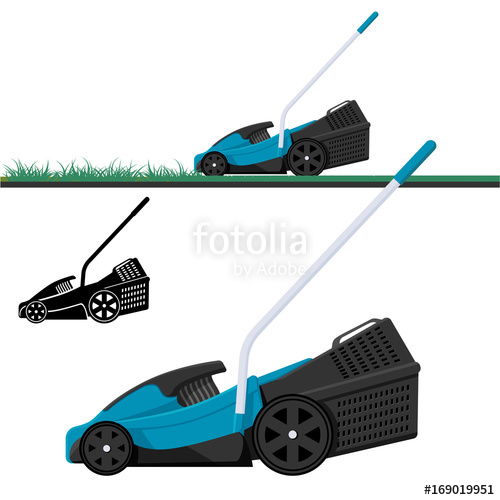 500x500 Lawn Mower Cutting Grass, Isolated Vector Illustration. Lawnmower