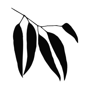 310x310 Magnolia Leaves On Twig Silhouette Plants Decals, Decal Sticker