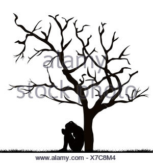 300x320 Silhouette Of A Sad Woman Under A Leafless Tree Stock Photo