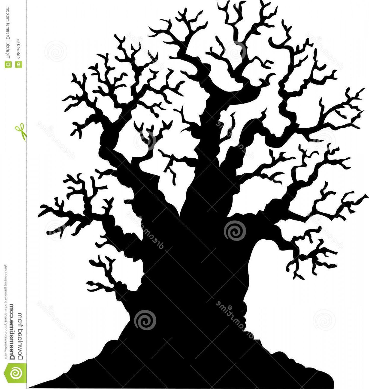 1483x1560 Stock Illustration Silhouette Leafless Oak Tree Cartoon