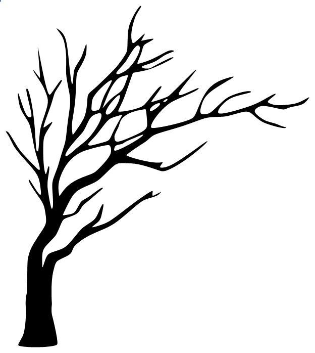 624x698 Leafless Tree Silhouette . To Paint In The Bathroom And Put Hooks