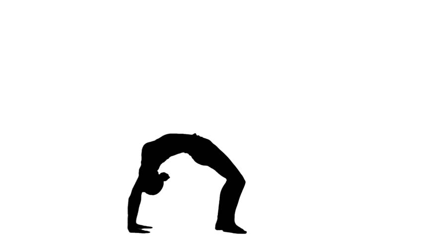 852x480 Silhouette Girl Doing Yoga. White. Slow Motion. Silhouette Stock