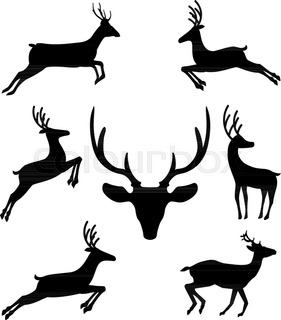 281x320 Leaping Deer Stock Vector Colourbox