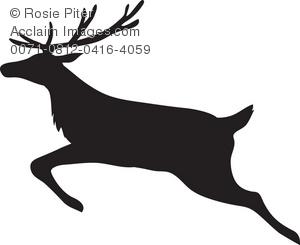 300x245 Silhouette Of A Running, Leaping Deer Or Reindeer Royalty Free (Rf