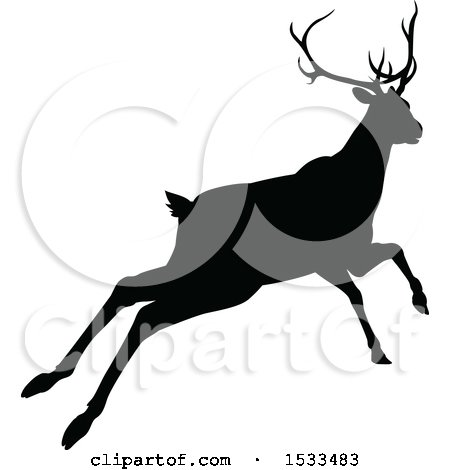 450x470 Clipart Of A Black Silhouetted Deer Stag Buck Leaping