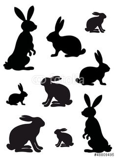 236x319 Excellent Wabbits! Hare Set Of Black Silhouettes. Leaping Rabbit